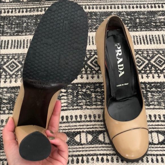 Prada Size 37.5 Platform Patent Leather Logo Pumps Shoes